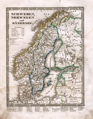 Karte Norwegen Schweden.Schweden Norwegen Und Danemark Stielers Weltatlas Von