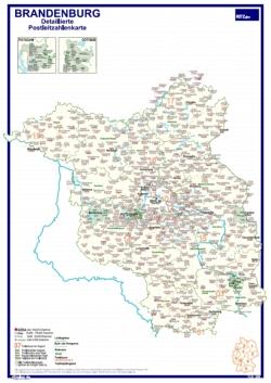 Postleitzahlen Karte Brandenburg.Postleitzahlenkarte Brandenburg Mit Detailplänen Din A3 Dickes