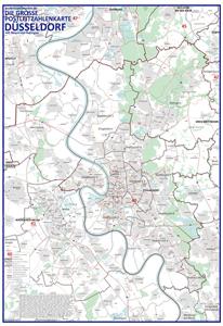 Düsseldorf Stadtteile Karte.Postleitzahlenkarte Düsseldorf Neu 2016 70x100cm Dickes Papier