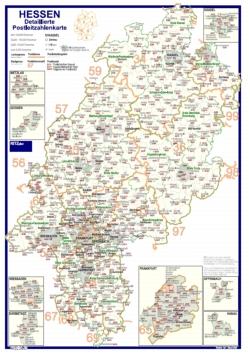 Postleitzahlenkarte Hessen Mit Detailplanen 70x100cm Dickes