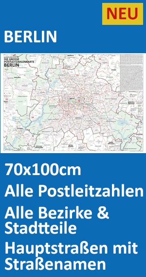 Postleitzahlen Karte Brandenburg.Postleitzahlenkarte Berlin Und Potsdam Neu 2016 70x100cm Dickes