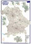 Postleitzahlenkarte Bayern (70x100cm)