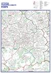 Die große Postleitzahlenkarte Essen - Mit allen Stadtbezirken und Stadtteilen, Register und vielen Straßen mit Straßennamen (70x100cm)