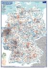 ORGA - Organisationskarte Deutschland mit Postleitzonengebiete (70x100cm)