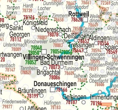 postleitzahlenkarte baden württemberg