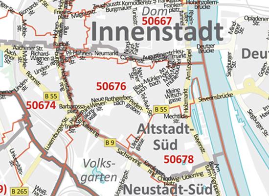 Postleitzahlenkarte Koln Und Leverkusen Neu 2016 70x100cm