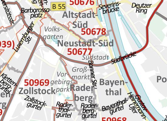 Postleitzahlenkarte Koln Und Leverkusen Din A3 Dickes Papier