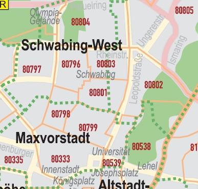 Karte München Stadtteile.Postleitzahlenkarte München 70x100cm Dickes Papier Gerollt Mit