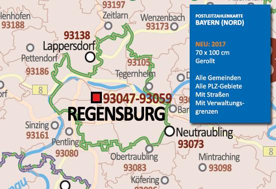 Plz Karte Bayern.Postleitzahlenkarte Bayern Nördlicher Teil Neu 2017 70x100cm