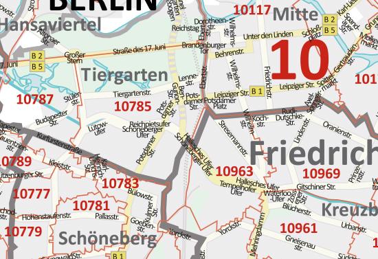 Berlin Potsdam Karte.Postleitzahlenkarte Berlin Und Potsdam Neu 2016 70x100cm Dickes